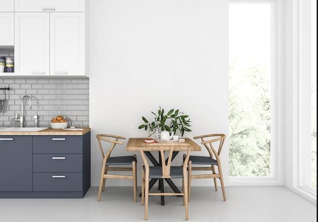 Cozinha moderna com parede em branco, fundo de obras de arte, maquete interior