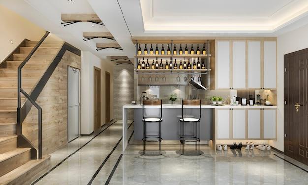 Cozinha moderna de loft escandinavo de renderização em 3d com área de jantar perto da escada