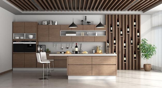 Cozinha moderna de madeira com ilha e cadeiras