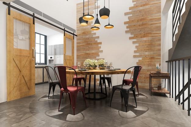 Cozinha moderna do vintage escandinavo da rendição 3d com área ajustada do jantar do sotão