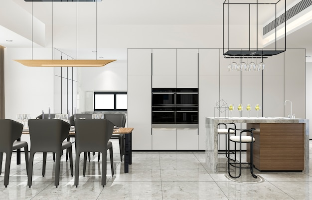 Cozinha moderna do vintage escandinavo da rendição 3d com área de jantar