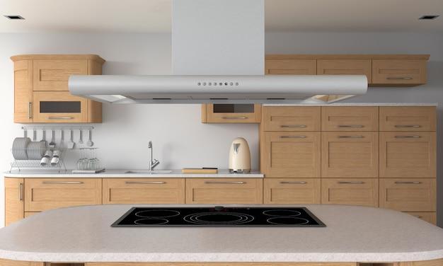 Cozinha moderna e fogão elétrico de indução na mesa para maquete