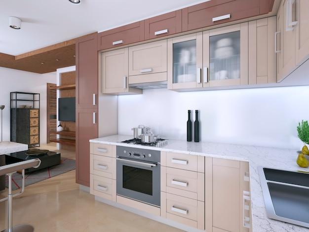 Cozinha moderna e leve em estilo escandinavo. renderização 3d