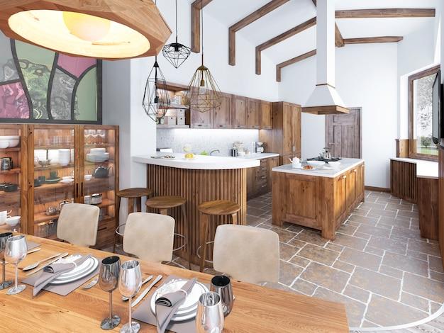 Cozinha moderna e sala de jantar no loft