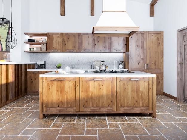Cozinha moderna em estilo loft com ilha com exaustor.