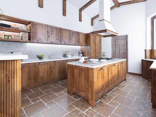 Cozinha moderna em estilo loft ilha de cozinha com exaustor sobre ela