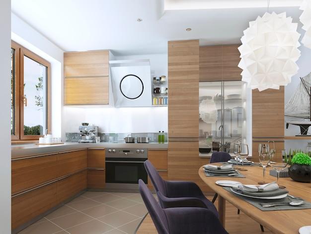 Cozinha moderna na sala de jantar de estilo contemporâneo com exaustor