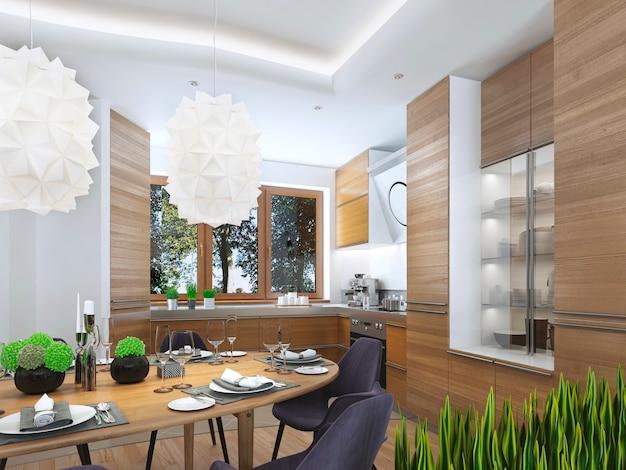 Cozinha moderna na sala de jantar estilo contemporâneo