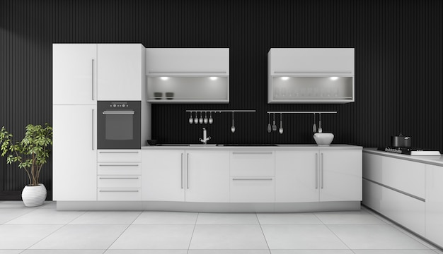 Cozinha moderna preta da rendição 3d com contador branco