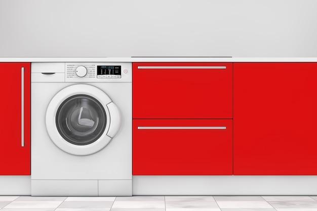 Cozinha moderna vermelha com closeup extrema de máquina de lavar roupa embutida. renderização 3d.