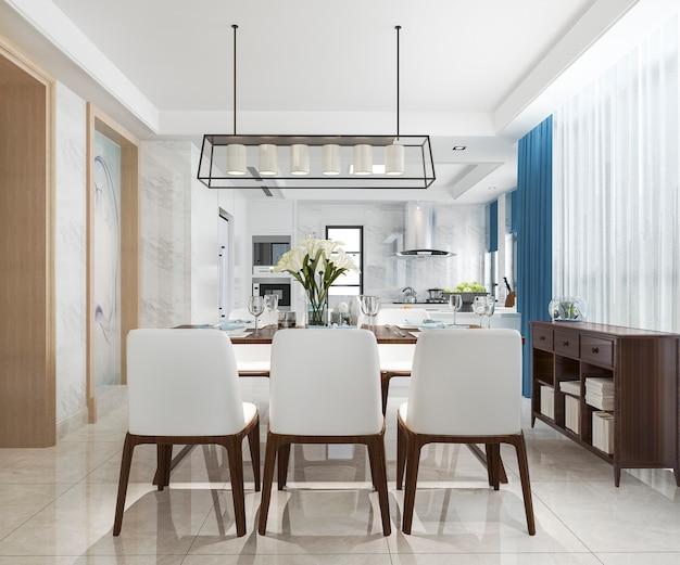 Cozinha moderna vintage escandinava com área de jantar azul