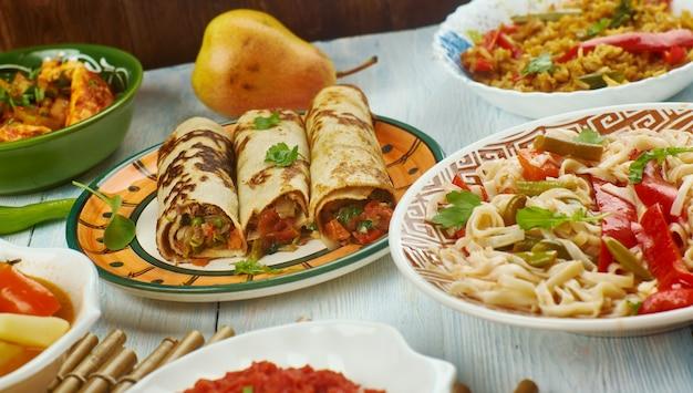 Cozinha schezwan, cozinha chinesa da ásia, pratos tradicionais variados, vista de cima.