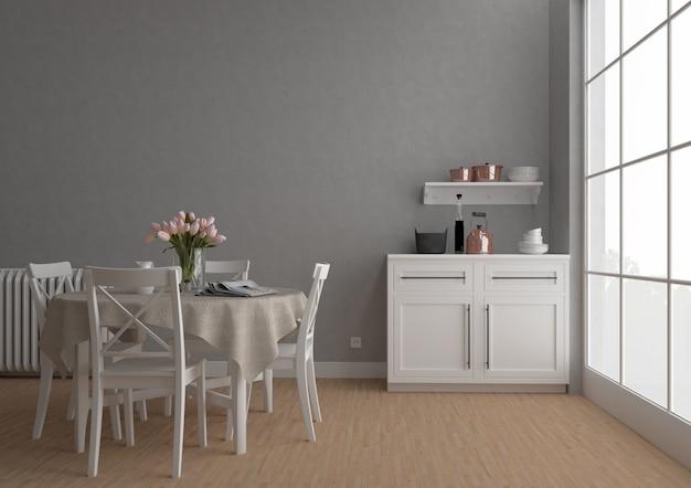 Cozinha vintage com parede em branco, fundo de obras de arte, maquete interior