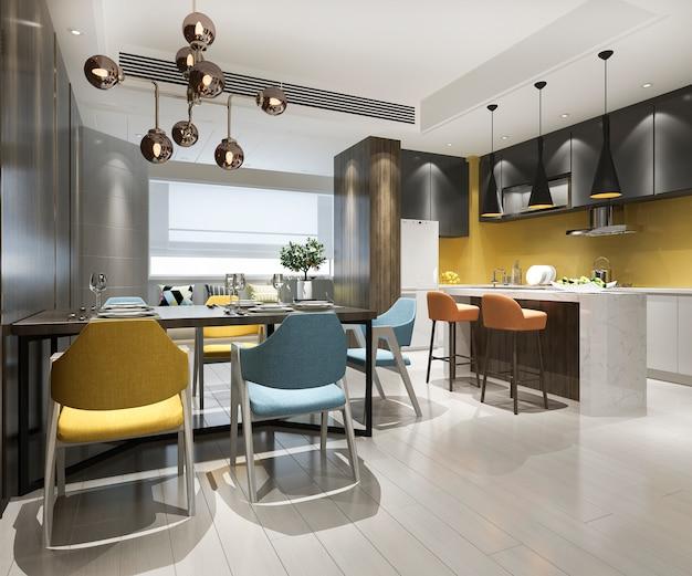 Cozinha vintage escandinava de renderização 3d com mesa de jantar e cadeira colorida