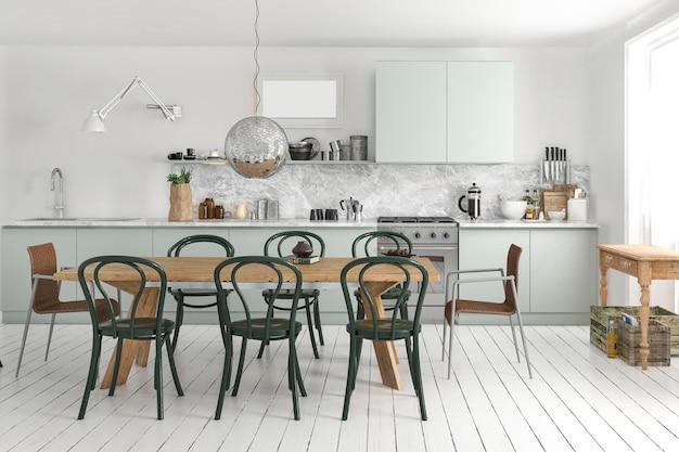 Cozinha vintage escandinava de renderização 3d com mesa de jantar