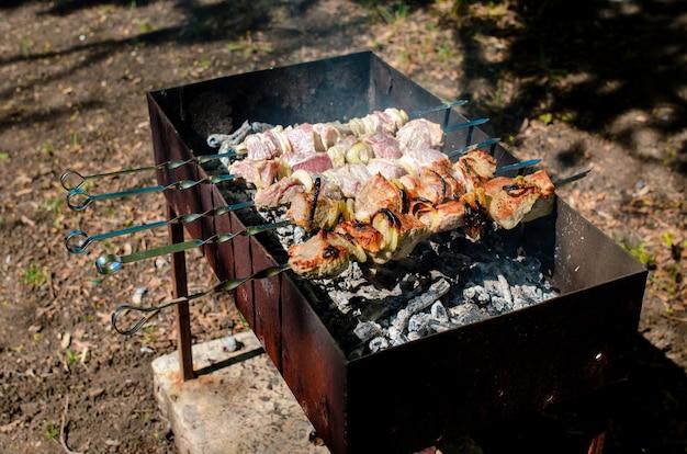 Cozinhar churrasco na natureza.