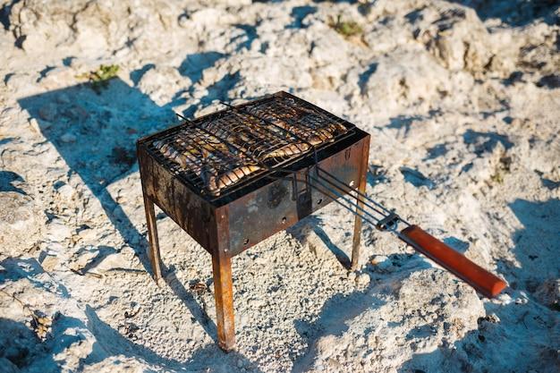 Cozinhar peixe pequeno na grelha na praia