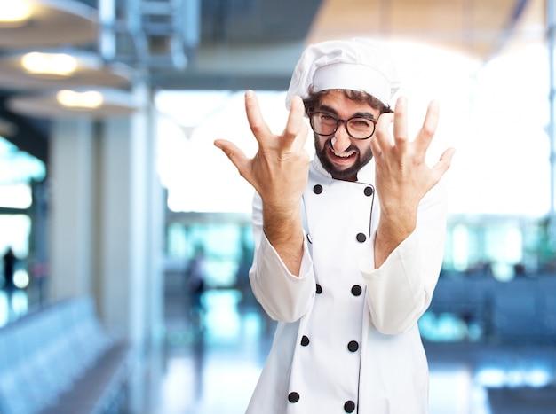 Cozinheiro chefe louco expressão de raiva