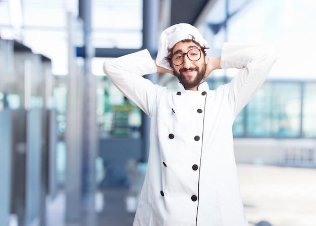 Cozinheiro chefe louco expressão feliz