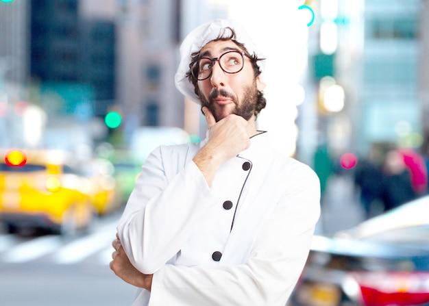 Cozinheiro chefe louco surpreendido expressão