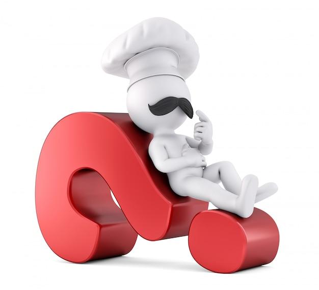 Cozinheiro chefe que coloca em um ponto de interrogação vermelho.