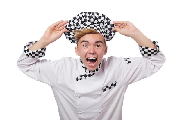 Cozinheiro engraçado isolado no branco