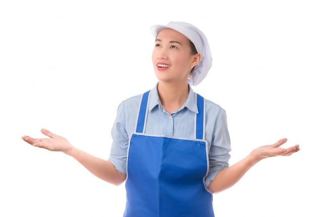 Cozinheiro ou chef mostrando e apresentando