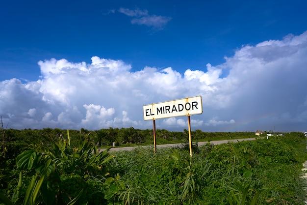 Cozumel, ilha, el mirador, sinal estrada, méxico
