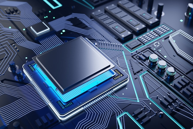 Cpu e fundo do chip de computador