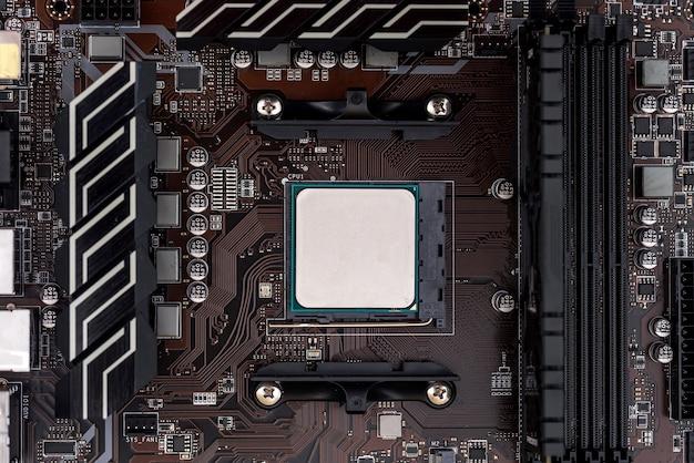 Cpu na placa-mãe de perto, tema do computador