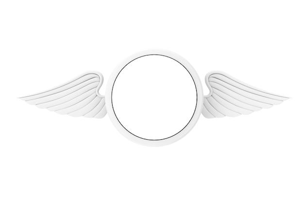 Crachá branco com asas e espaço livre para seu projeto em um fundo branco. renderização 3d