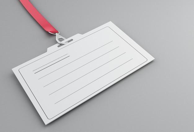 Crachá de identificação de plástico branco 3d com cordão