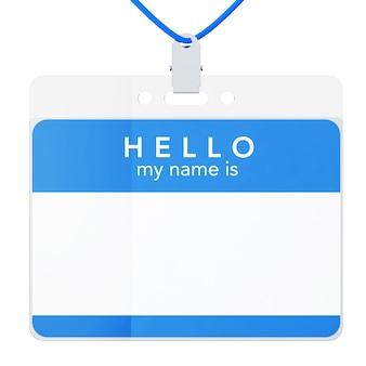 Crachá de identificação de plástico com clipe de metal em um fundo branco. renderização 3d.