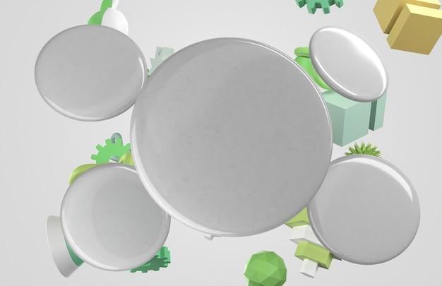 Crachás 3d em branco e objetos voadores