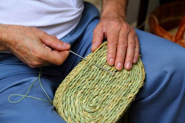 Craftsman sewing basket esparto tecelão de grama