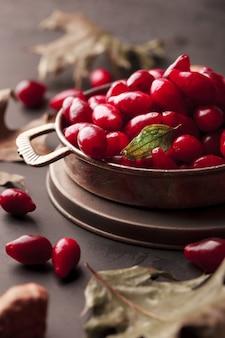 Cranberries em uma placa de metal retrô