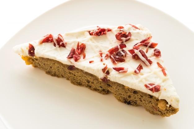 Cranberries torta ou bolo na placa branca