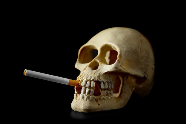 Crânio com cigarro em fundo preto