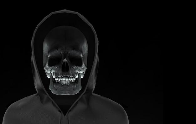 Crânio de cabeça fantasma no casaco de capuz preto com traçado de recorte isolado em fundo preto.