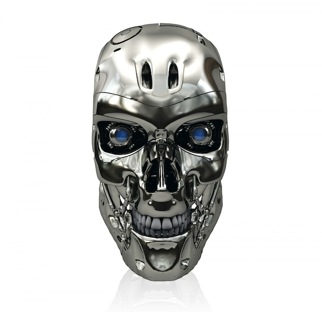 Crânio de robô com superfície metálica e olhos azuis brilhantes, renderização em 3d