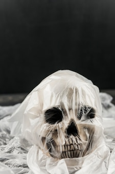Crânio em saco de plástico