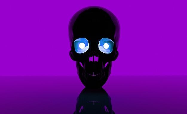 Crânio em um fundo e com olhos 3d render