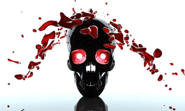 Crânio em um fundo e com renderização 3d de olhos vermelhos