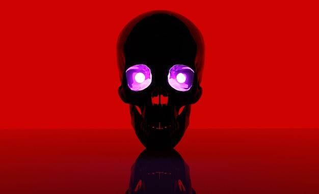 Crânio em um fundo vermelho e com olhos roxos renderização 3d