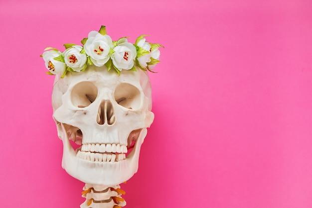Crânio humano com coroa de flores brancas em fundo rosa brilhante. copie o espaço. dia do dia de muertos.