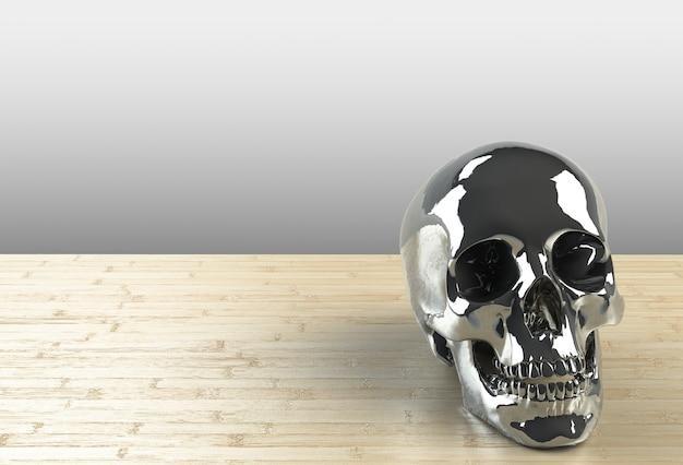 Crânio humano em fundo de madeira