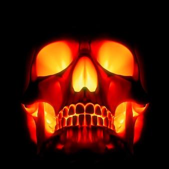 Crânio redhot isolado em um fundo preto d ilustração