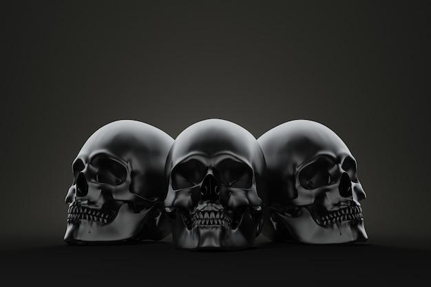 Crânios assustadores. ilustração 3d.