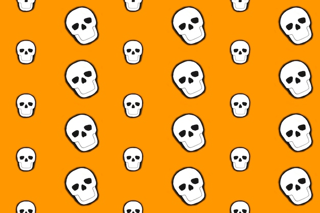 Crânios brancos colocados em linhas pares