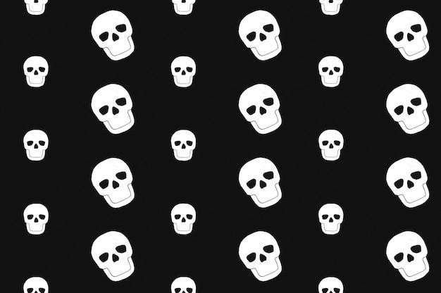Crânios brancos colocados em ordem